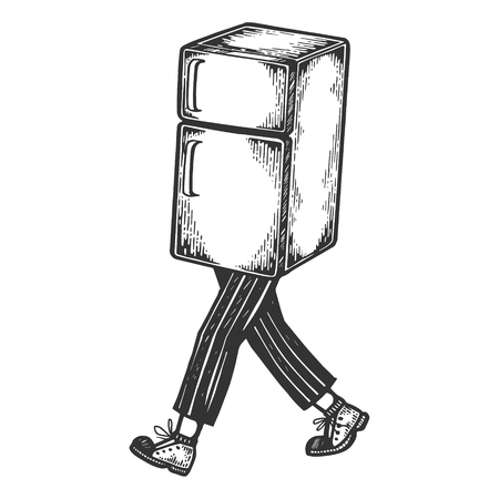 Fridge walks on its feet sketch engraving vector illustration. Scratch board style imitation. Black and white hand drawn image.