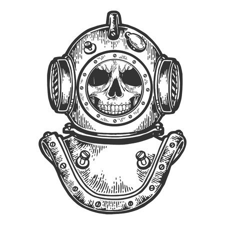 Cráneo humano casco de buceo dibujo grabado ilustración vectorial. Imitación de tablero de rascar. Imagen dibujada a mano. Ilustración de vector