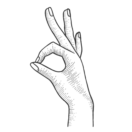Hand with ok gesture sketch engraving vector illustration. Good sign. Scratch board style imitation. Hand drawn image. Illustration