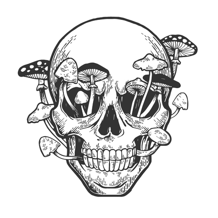 Human skull and mushroom sprouted sketch engraving vector illustration. Scratch board style imitation. Hand drawn image.