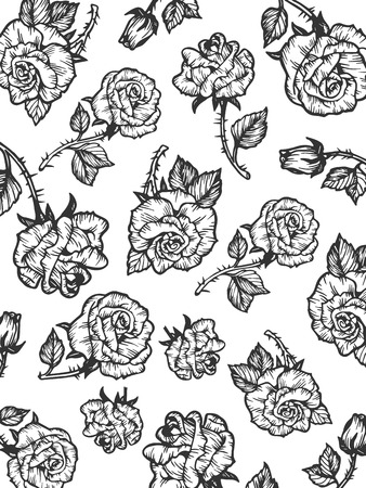 Rain of beauty rose flower sketch engraving vector illustration. Background pattern. Scratch board style imitation. Hand drawn image. Ilustracja