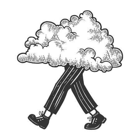 Cloud walks on its feet sketch engraving vector illustration. Scratch board style imitation. Black and white hand drawn image.  イラスト・ベクター素材