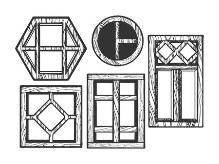 House wooden old windows sketch engraving vector illustration. Scratch board style imitation. Black and white hand drawn image.