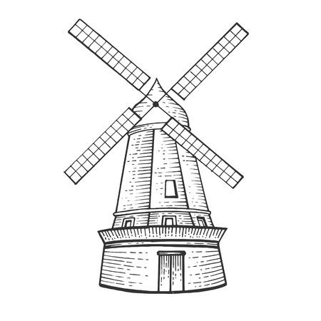 Alte Windmühle Skizze Gravur Vektor-Illustration. Nachahmung im Scratchboard-Stil. Handgezeichnetes Bild.