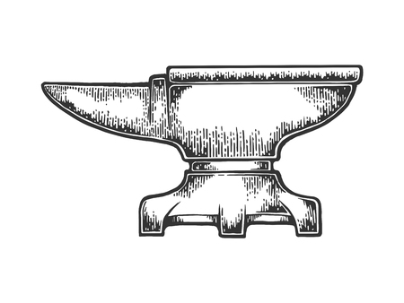 Blacksmith anvil sketch engraving vector illustration. Scratch board style imitation. Black and white hand drawn image. Banque d'images - 119839408