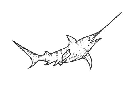 Swordfish sketch engraving vector illustration. Scratch board style imitation. Hand drawn image. Ilustración de vector