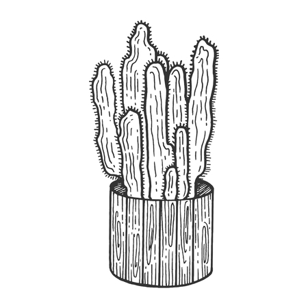Cactus plant in flower pot sketch engraving vector illustration. Scratch board style imitation. Black and white hand drawn image. Zdjęcie Seryjne - 119839413