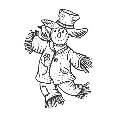 Spaventapasseri di fattoria rurale con illustrazione vettoriale di incisione di schizzo di uccello corvo. Imitazione di stile scratch board. Immagine disegnata a mano in bianco e nero.