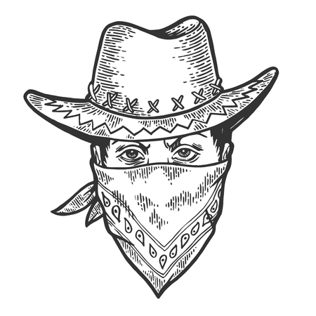 Cowboy head in bandit gangster mask bandana sketch engraving vector illustration. Scratch board style imitation. Hand drawn image.