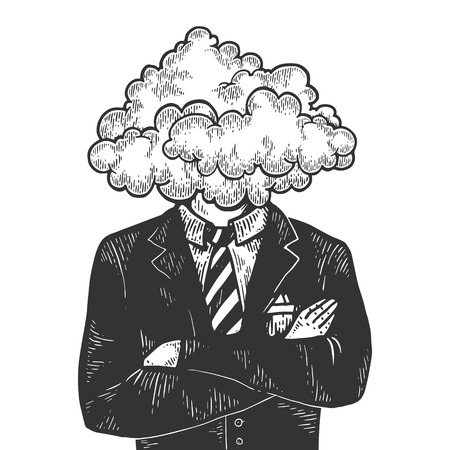 Cloud head businessman sketch engraving vector illustration. Scratch board style imitation. Black and white hand drawn image.