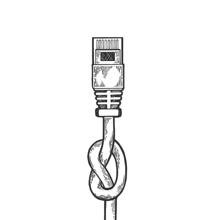 Knotted blocked internet locale net cable metaphor sketch engraving vector illustration. Scratch board style imitation. Hand drawn image. 일러스트