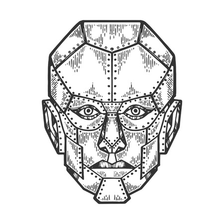Cyborg robot human iron face metal head sketch engraving vector illustration. Scratch board style imitation. Black and white hand drawn image.