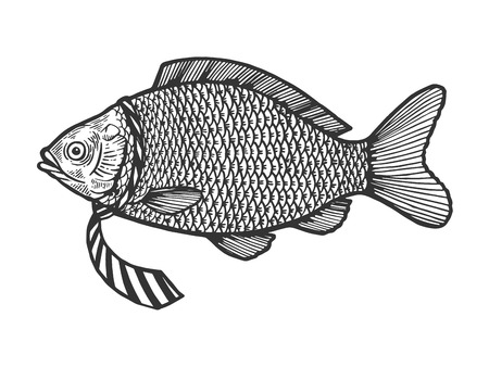 Fish in necktie sketch engraving vector illustration. Scratch board style imitation. Black and white hand drawn image.
