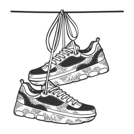 Le scarpe da ginnastica sono appese all'illustrazione vettoriale dell'incisione di schizzo di filo. Imitazione di stile scratch board. Immagine disegnata a mano in bianco e nero. Vettoriali