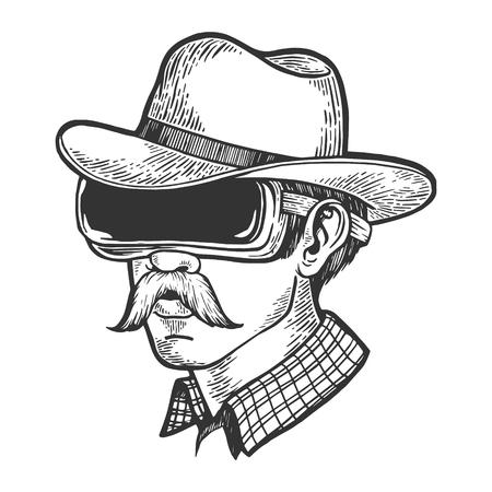 Cowboy head in VR helmet glasses sketch engraving vector illustration. Scratch board style imitation. Hand drawn image.