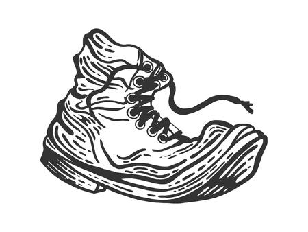 Antiguo boceto de bota en mal estado grabado ilustración vectorial. Imitación de tablero de rascar. Imagen dibujada a mano. Ilustración de vector