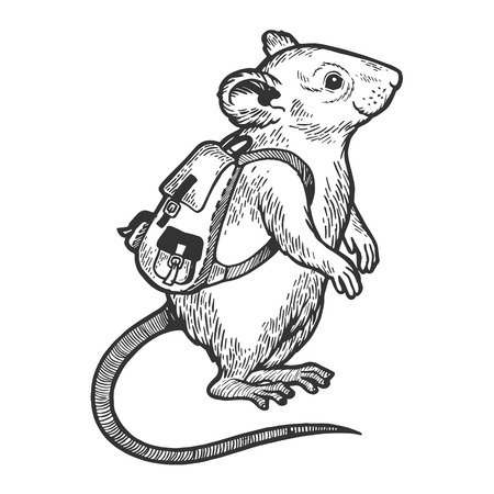 Cartoon mouse with backpack sketch engraving vector illustration. Scratch board style imitation. Black and white hand drawn image. 스톡 콘텐츠 - 124033564