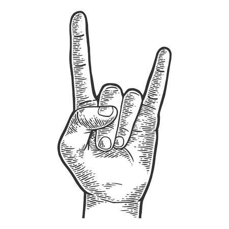 Signo de cuernos rock heavy metal mano gesto dibujo grabado ilustración vectorial. Imitación de tablero de rascar. Imagen dibujada a mano.
