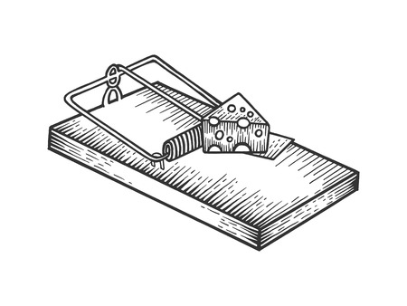 Mousetrap with cheese sketch engraving vector illustration. Scratch board style imitation. Black and white hand drawn image.