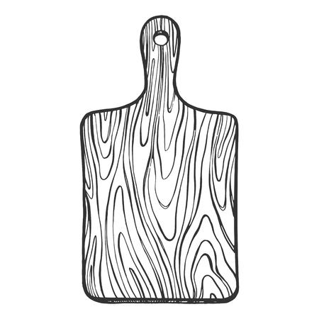 Planche à découper en bois croquis gravure illustration vectorielle. Imitation de style planche à gratter. Image dessinée à la main.