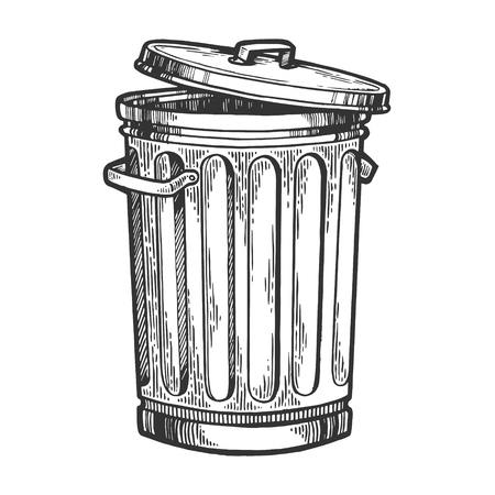Metal trash can sketch engraving vector illustration. Scratch board style imitation. Hand drawn image.