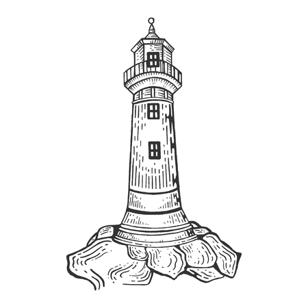 Lighthouse engraving vector illustration. Scratch board style imitation. Hand drawn image.