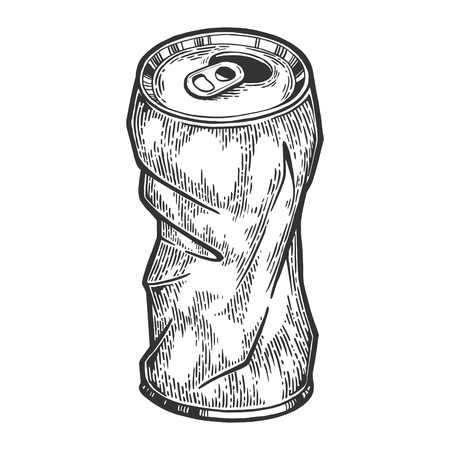Rumpled metal can sketch engraving vector illustration. Scratch board style imitation. Hand drawn image. Vector Illustratie