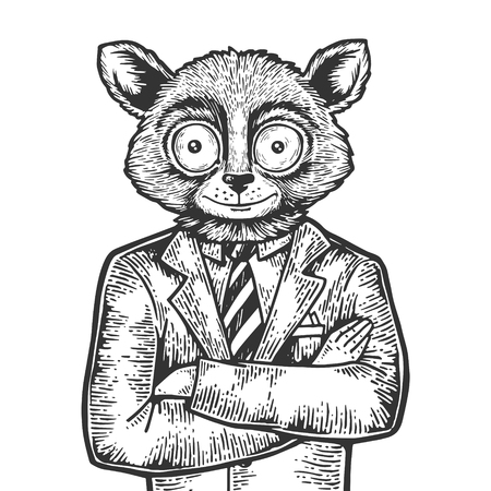 Tarsier head businessman sketch engraving vector illustration. Scratch board style imitation. Black and white hand drawn image. Ilustração