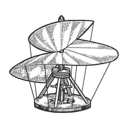 Boceto de modelo de helicóptero medieval grabado ilustración vectorial. Imitación de tablero de rascar. Imagen dibujada a mano.