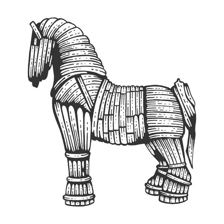 Trojan horse sketch engraving vector illustration. Horse wooden figure. Scratch board style imitation. Hand drawn image.