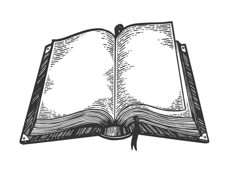 Otwarta książka szkic Grawerowanie ilustracji wektorowych. Imitacja stylu drapaka. Czarno-biały obraz narysowany ręcznie. Ilustracje wektorowe