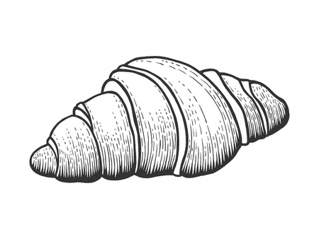 Croissant sweet bakery product sketch engraving vector illustration. Scratch board style imitation. Black and white hand drawn image.