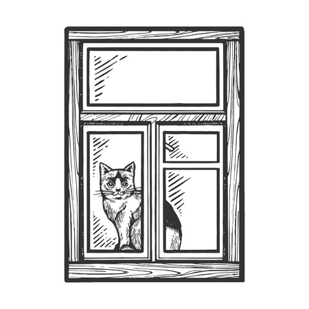Domestic cat looking out window sketch engraving vector illustration. Scratch board style imitation. Black and white hand drawn image. Foto de archivo - 121131923