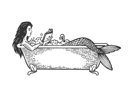 Mermaid reading book in bath sketch engraving vector illustration. Scratch board style imitation. Black and white hand drawn image. Banque d'images - 121131941