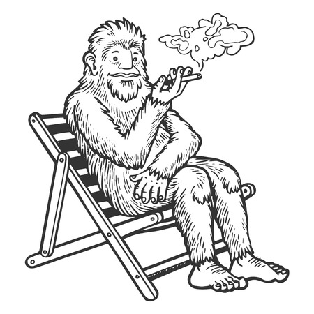 Snowman yeti animal smoking in beach chair sketch engraving vector illustration. Scratch board style imitation. Black and white hand drawn image.