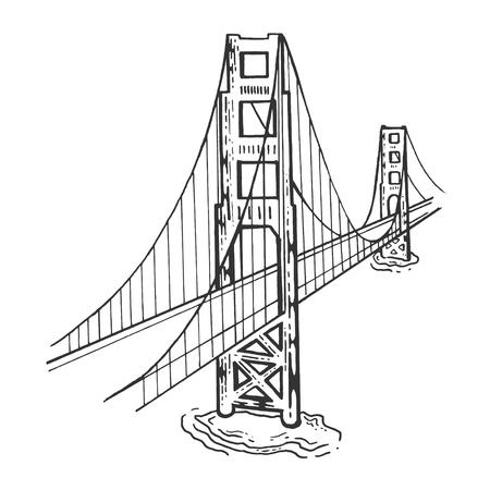 Golden Gate Bridge croquis gravure illustration vectorielle. Imitation de style planche à gratter. Image dessinée à la main en noir et blanc.