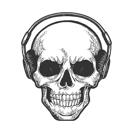 Cráneo humano escucha música en auriculares boceto grabado ilustración vectorial. Imitación de tablero de rascar. Imagen dibujada a mano. Ilustración de vector