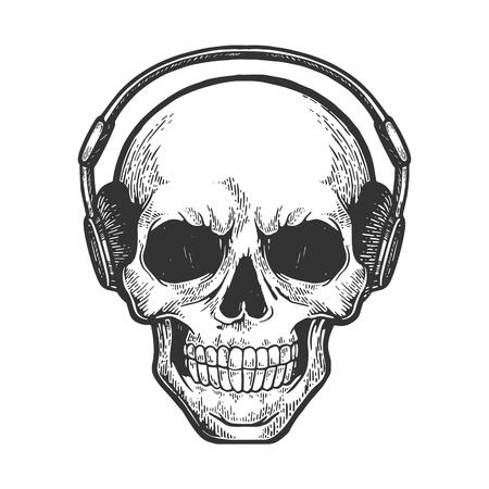 Le crâne humain écoute de la musique sur des écouteurs esquisse illustration vectorielle de gravure. Imitation de style planche à gratter. Image dessinée à la main. Vecteurs