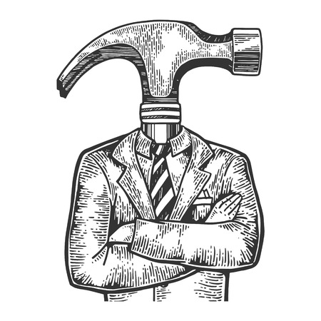 Hammer head businessman sketch engraving vector illustration. Scratch board style imitation. Black and white hand drawn image.