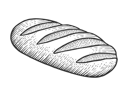 Bread loaf sketch engraving vector illustration. Scratch board style imitation. Black and white hand drawn image. Ilustração