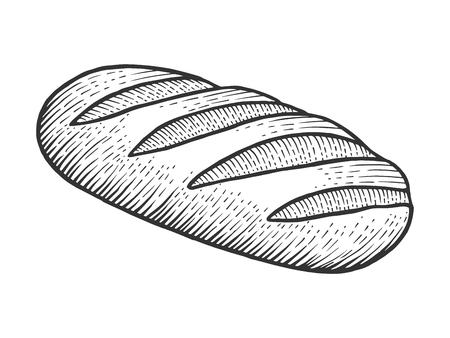 Illustrazione vettoriale di incisione di schizzo di pagnotta di pane. Imitazione di stile scratch board. Immagine disegnata a mano in bianco e nero.