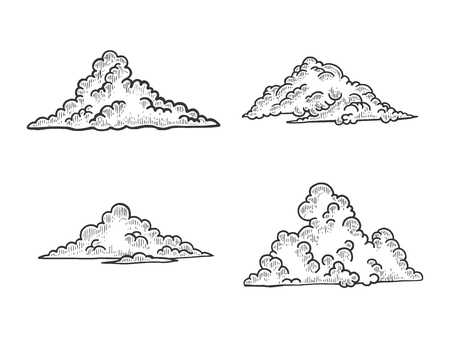Clouds sketch engraving vector illustration. Scratch board style imitation. Black and white hand drawn image. 向量圖像