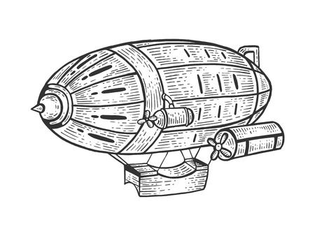 Alte Vintage Luftschiff lenkbare Skizze Gravur Vektor-Illustration. Nachahmung im Scratchboard-Stil. Handgezeichnetes Schwarz-Weiß-Bild.