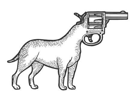 Revolver gun dog head sketch engraving vector illustration. Scratch board style imitation. Black and white hand drawn image.