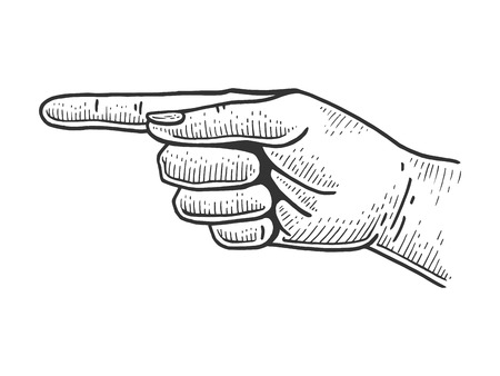 Hand pointer with forefinger index finger sketch engraving vector illustration. Scratch board style imitation. Hand drawn image.