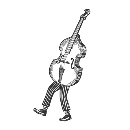 Double bass violin alto cello string instrument walks on its feet sketch engraving vector illustration. Scratch board style imitation. Black and white hand drawn image.