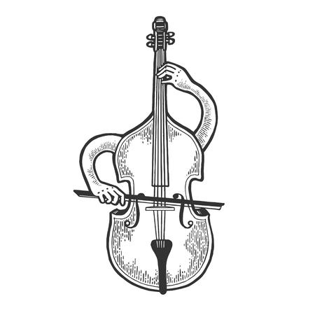 L'instrument à cordes violon alto violon contrebasse joue sur lui-même croquis gravure illustration vectorielle. Imitation de style planche à gratter. Image dessinée à la main en noir et blanc.