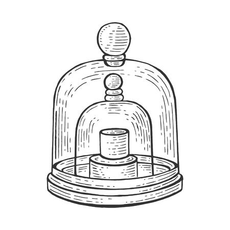 Standard kilogram prototype sketch engraving vector illustration. Scratch board style imitation. Hand drawn image.