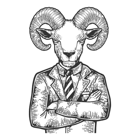 Ram head businessman sketch engraving vector illustration. Scratch board style imitation. Black and white hand drawn image.