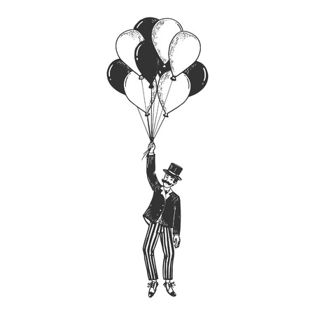 Old fashioned gentleman flying on air balloons sketch engraving vector illustration. Scratch board style imitation. Black and white hand drawn image. Vettoriali